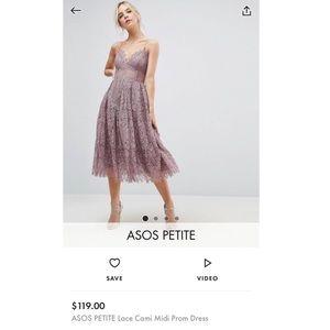 Lace cami midi prom dress